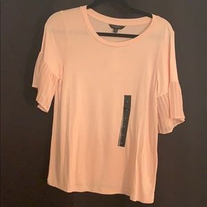 Light pink flutter sleeve top